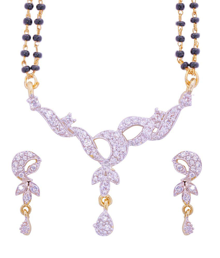 ADITRI CZ Mangalsutra Earrings Set (WHITE GOLD) (MS T M 106)