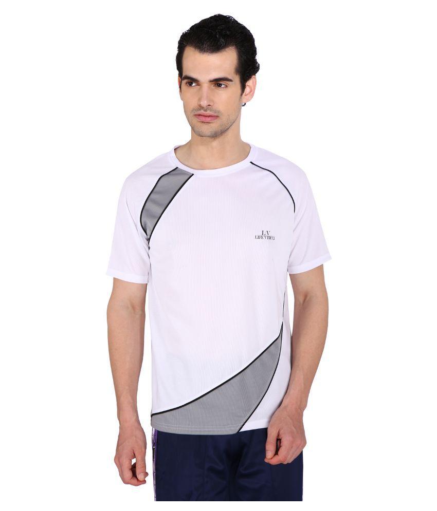 Life Verti White Round T Shirt