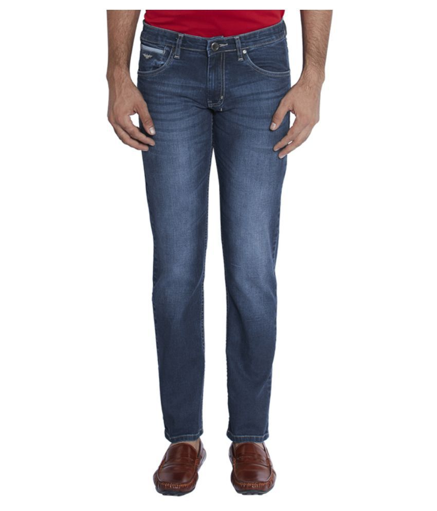 Park Avenue Blue Slim Fit Washed Jeans
