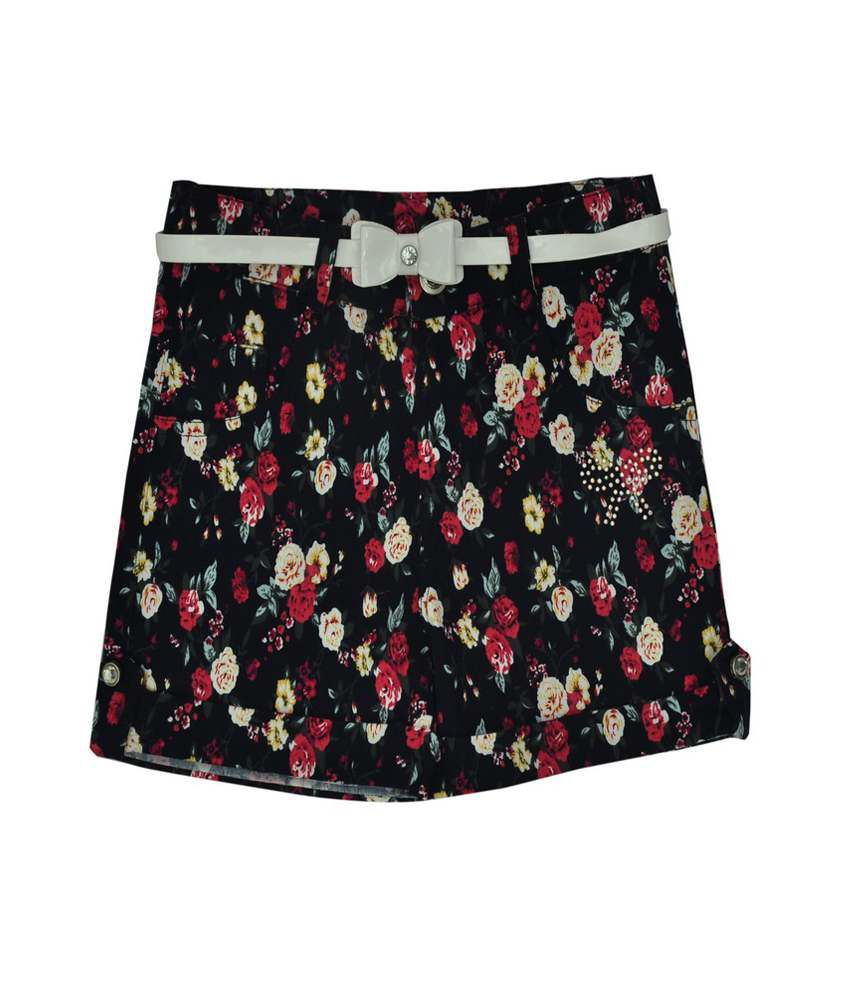 Titrit Black Cotton Shorts
