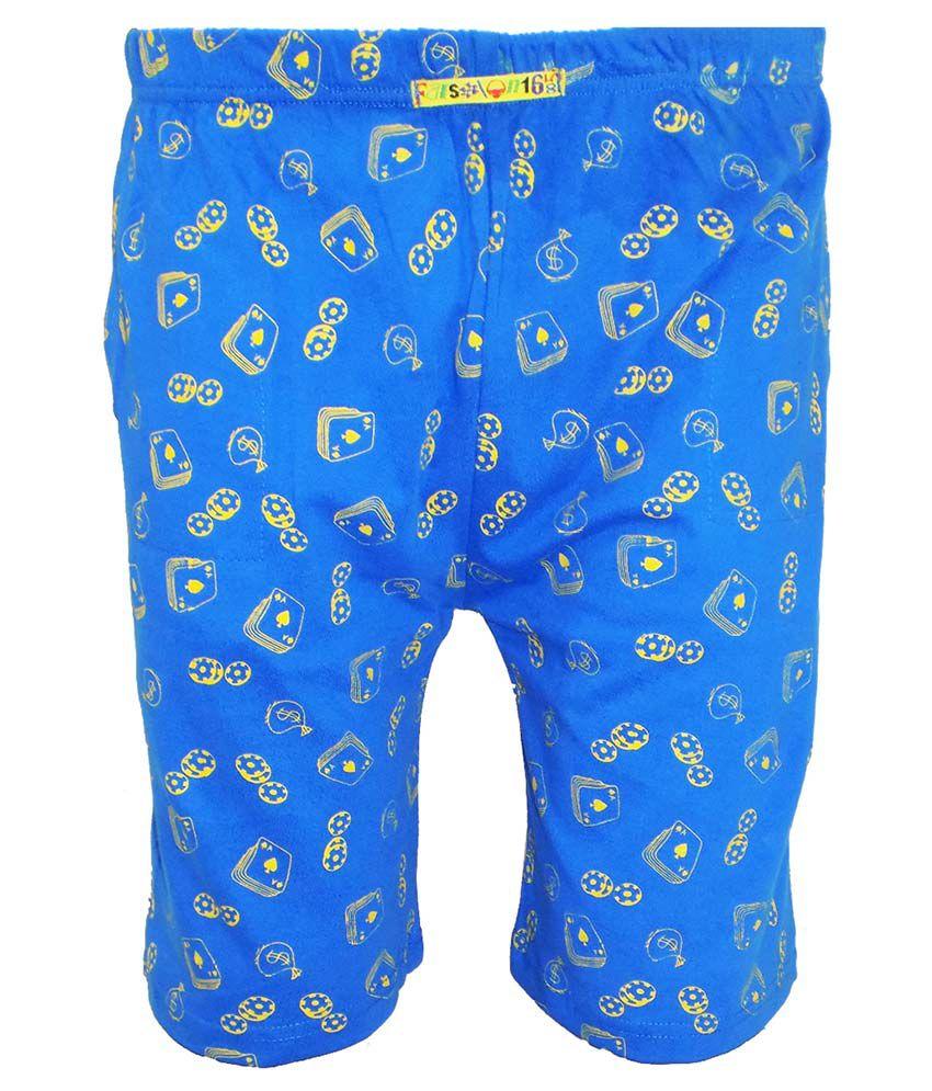 Fashionable Blue Cotton Shorts