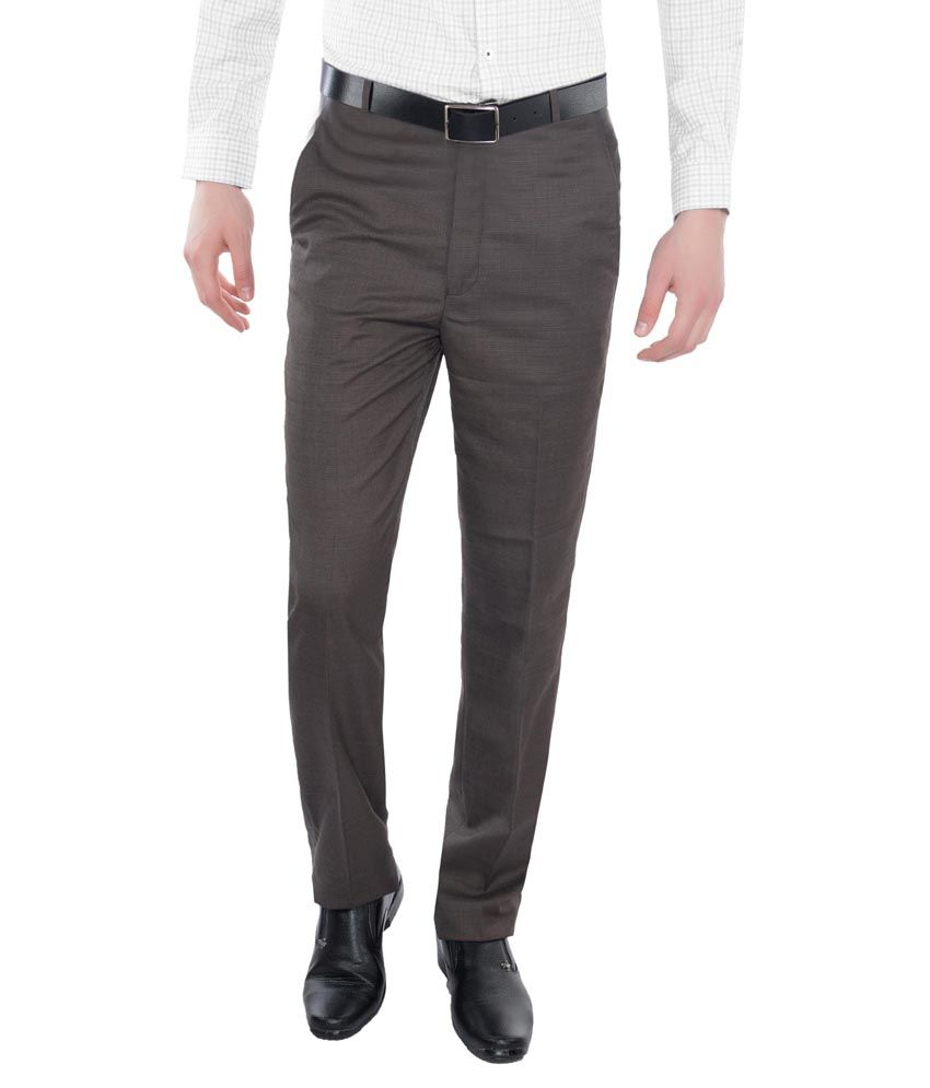 Vimal Brown Slim Fit Flat Trouser