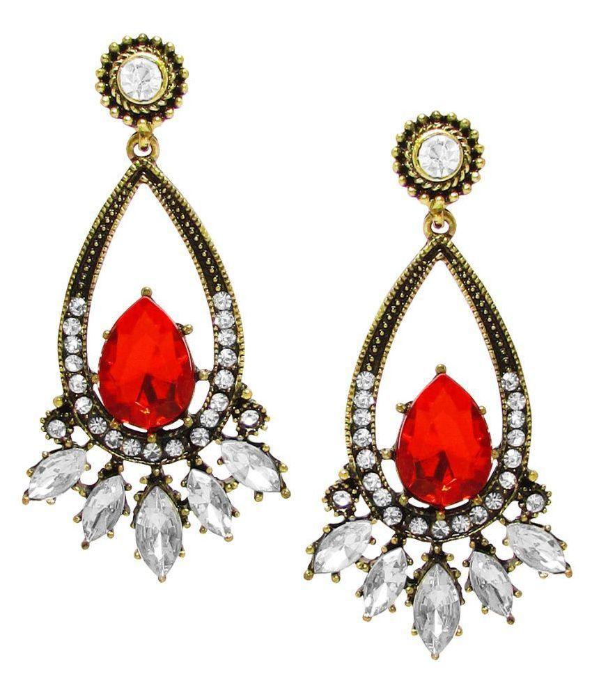 Jewelz Alloy Studded Multi Coloured Earrings