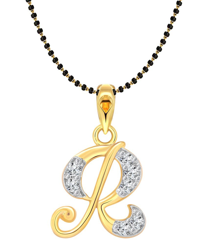 Vighnaharta  Alloy 24 kt Gold Plating Cubiz Zirconia Studded Gold Coloured Mangalsutra