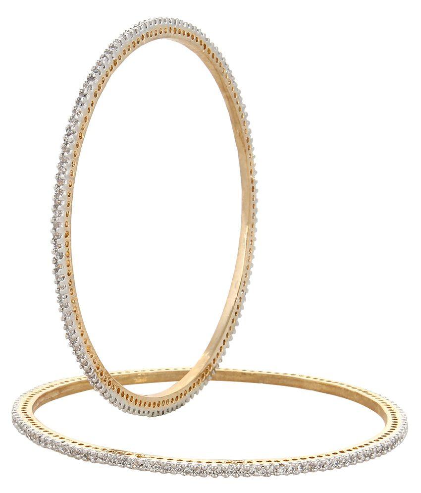 Moda Stella Brass 24 kt Gold Plating American diamonds Studded White Coloured Bangle Set