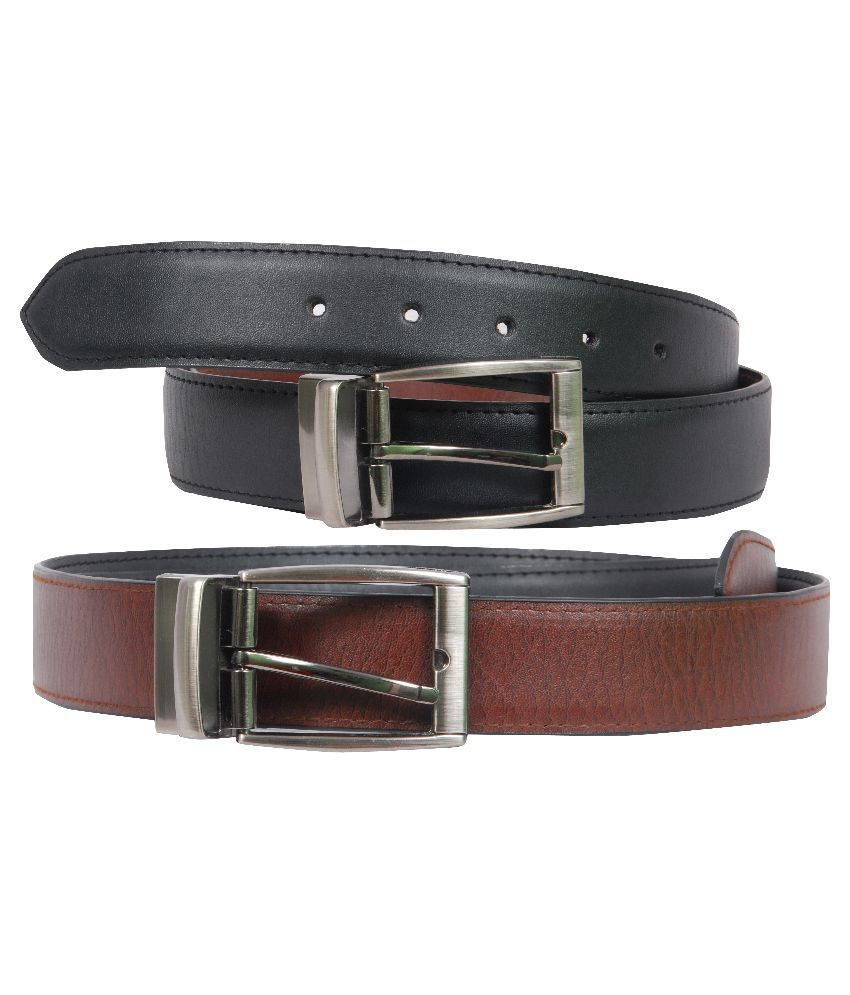 Poliss Multicolour Black Belt for Men - Pack of 2