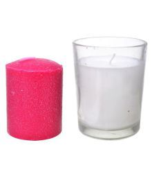 Auroshikha Votive Glass Candles With Refill (6.5 Cm X 5.5 Cm, White) (6.5 Cm X 5.5 Cm, White)