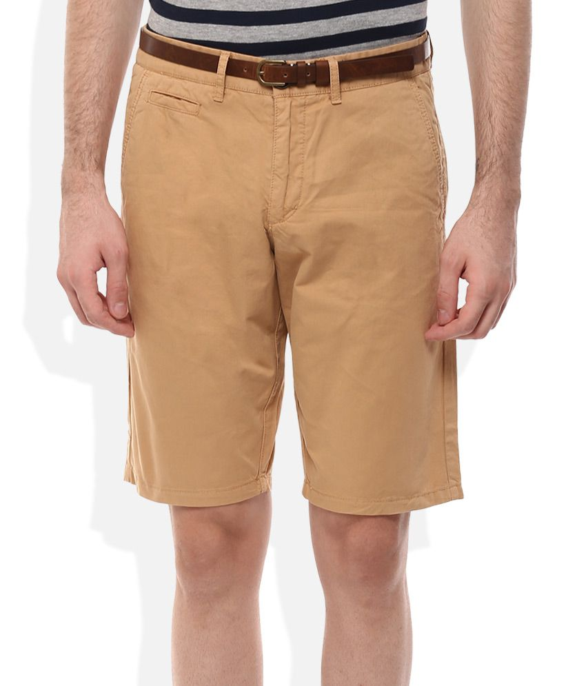 Celio Brown Cotton Shorts