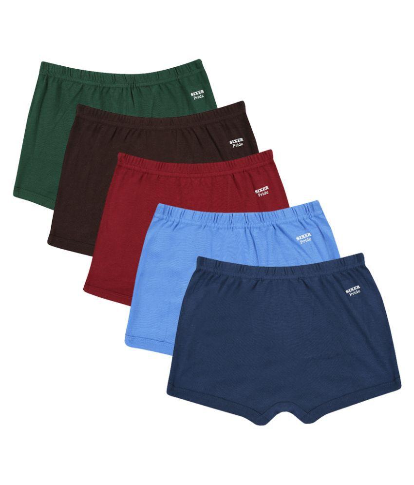 Sixer Multicolour Cotton Brief Pant - Pack of 5