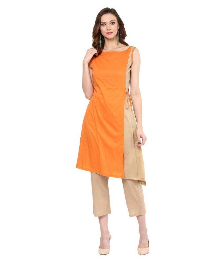 Apple Creation Orange Cotton Asymmetrical Hemline Kurti