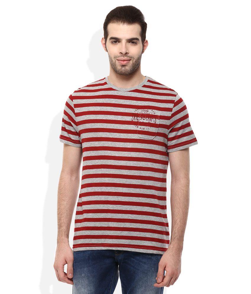 Celio Red Round Neck T Shirt