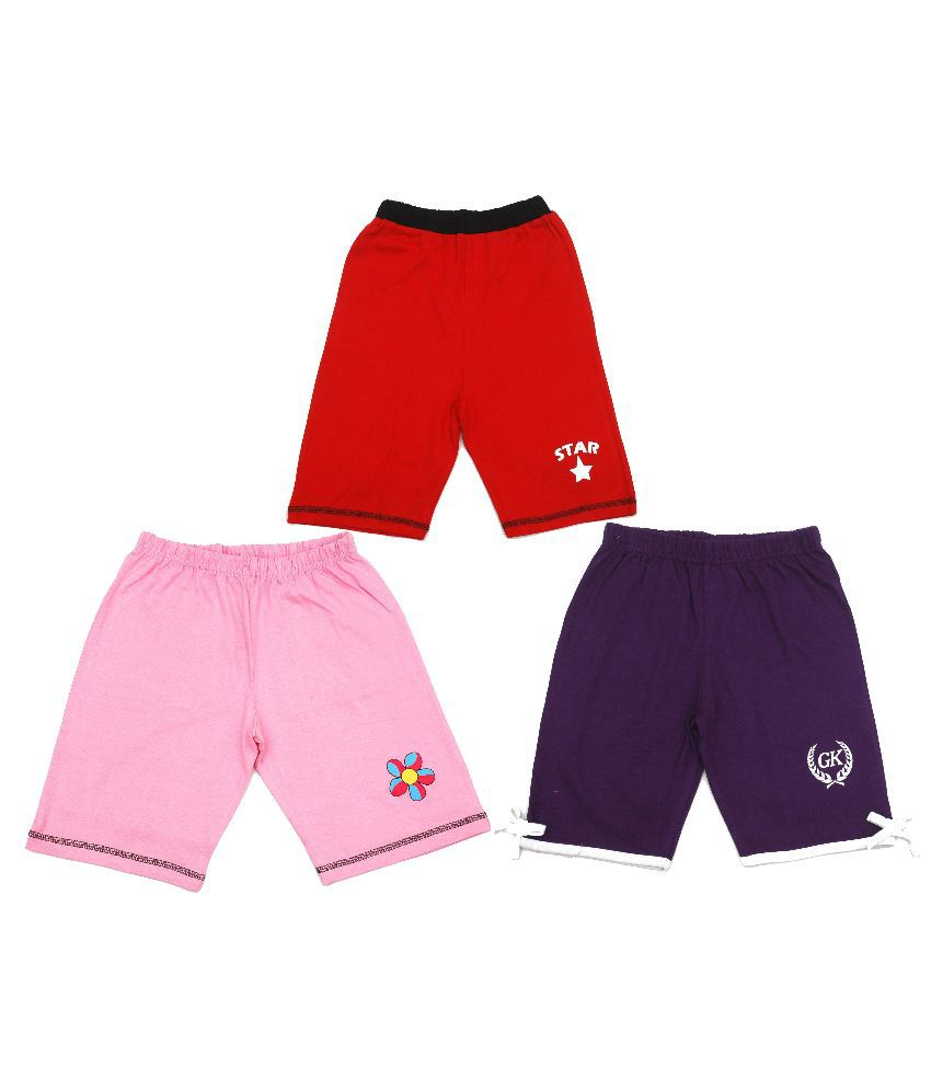 Gkidz Multicolor Shorts For Girls - Pack Of 3