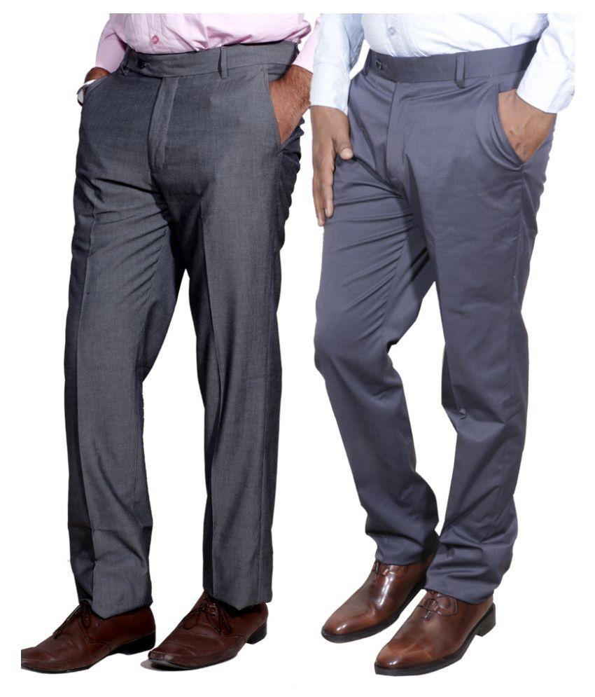 Indiweaves Grey Regular Fit Flat Trousers 2 Trousers