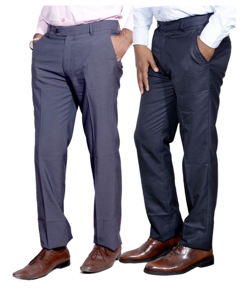 Indiweaves Multi Regular Fit Flat Trousers 2 Trousers