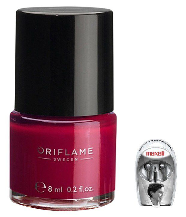 Oriflame Pure Colour Nail Polish Mini Ruby Pink 33074 With Maxell Earbuds