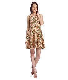 Vero Moda Green Floral Printed A Line Dress