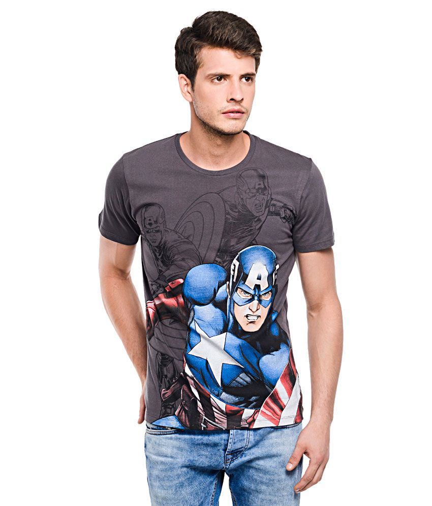 Captain America Grey Round Neck T Shirt