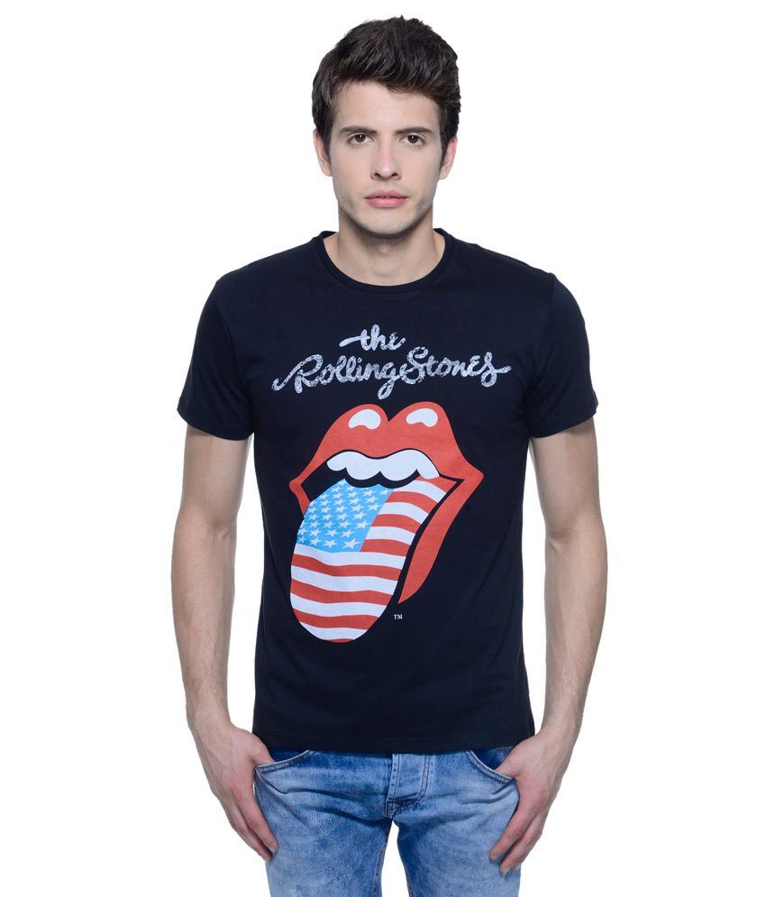 Rolling Stones Black Round Neck T Shirt