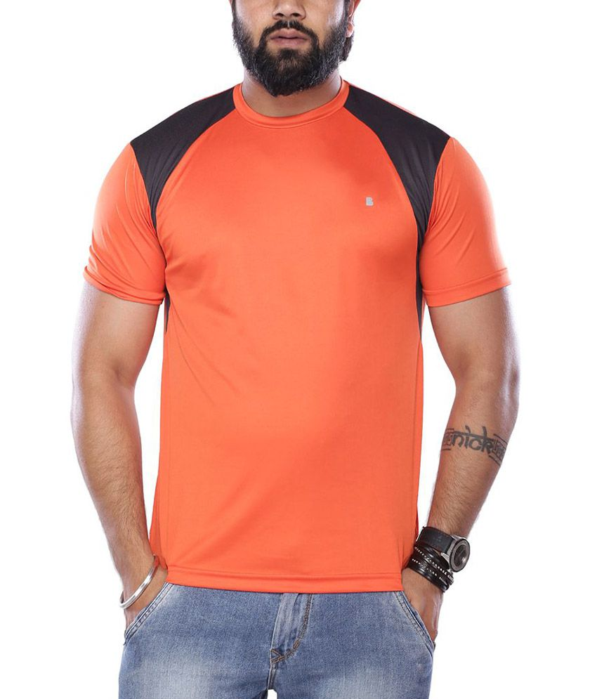Vishal Orange Round Neck Half Sleeves Solids T-Shirt