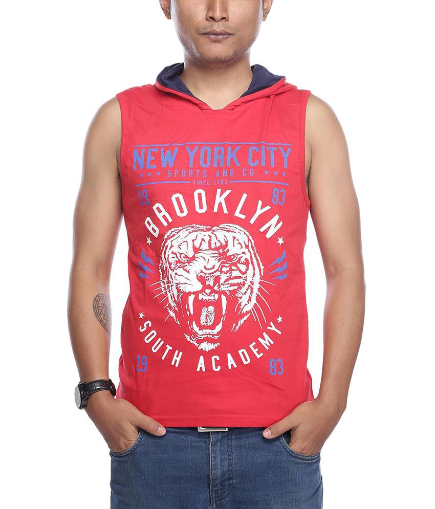 Vishal Red Half Printed Hooded T-Shirt