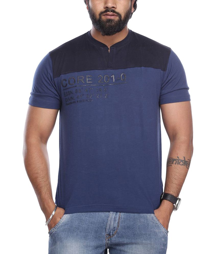 Viveza Blue Round Neck Half Solids T-Shirt