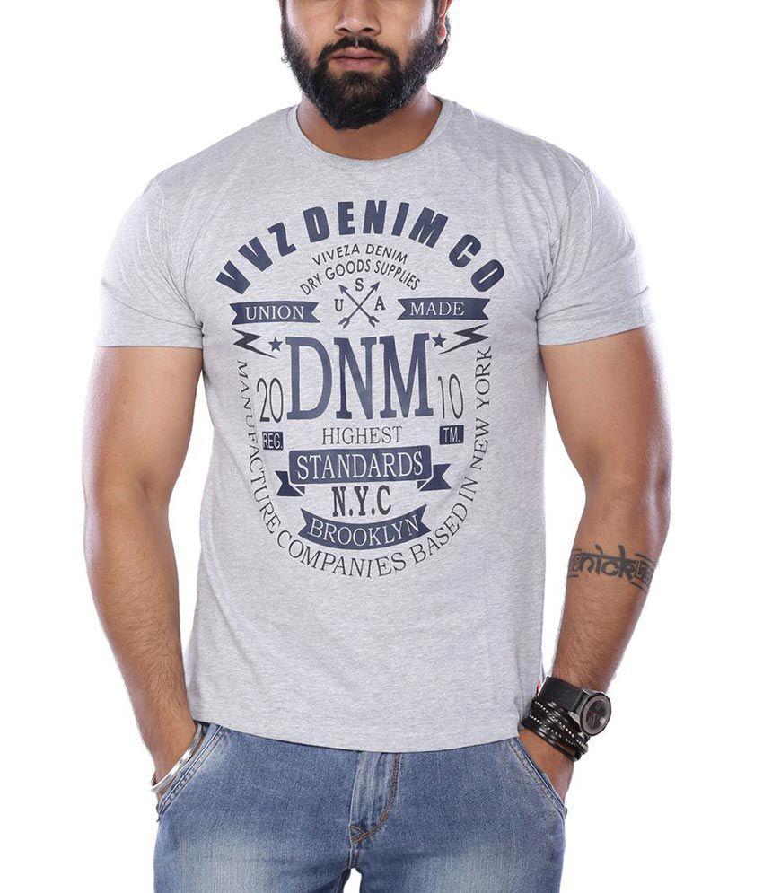Viveza Grey Round Neck Half Sleeves Printed T-Shirt