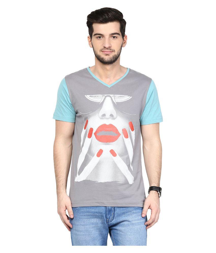 Yepme Grey V-Neck T Shirt