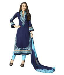Patiala House Blue Cotton Straight Unstitched Dress Material