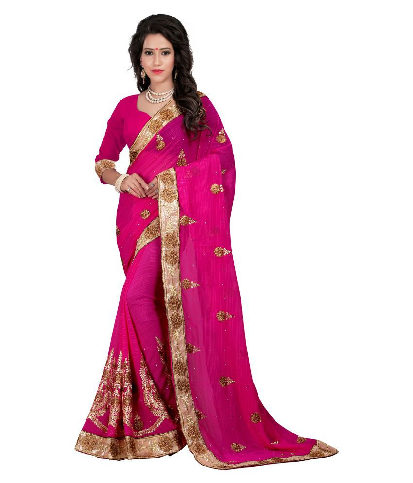 Fashiondeal Pink Georgette Saree