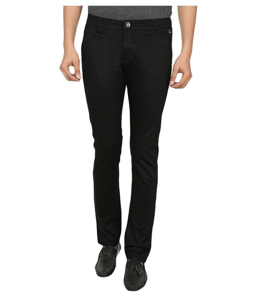 Fever Black Slim Fit Flat Trousers
