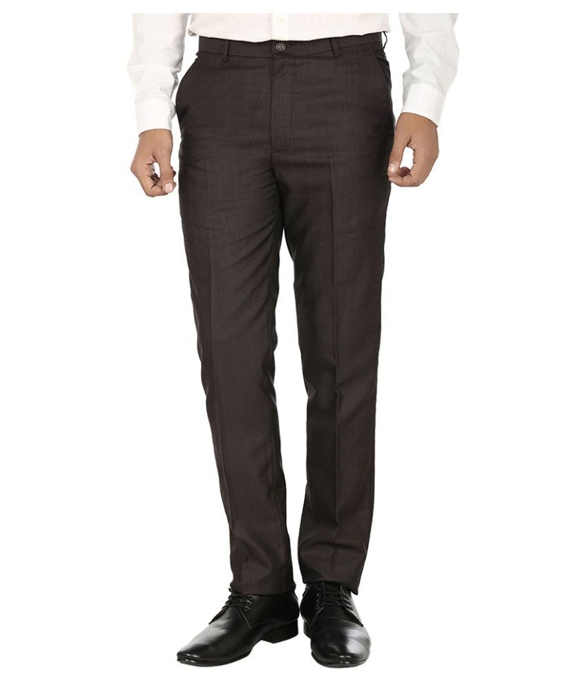 Fever Brown Slim Fit Flat Trousers