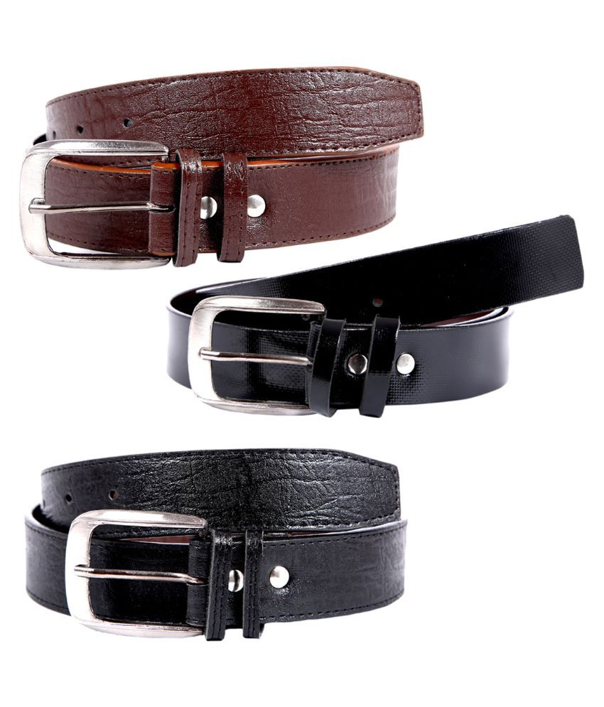 Hardy's Collection Multicolour Single Pin Buckle Belt for Men Pack of 3