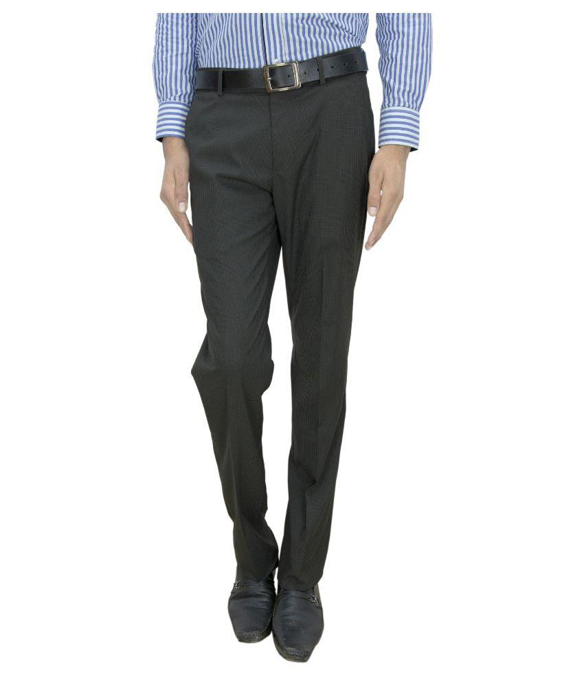 Integration Grey Slim Fit Flat Trousers