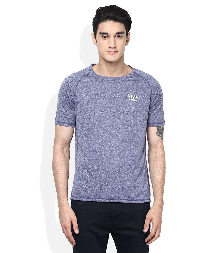 Umbro Grey Round Neck Halfl Sleeves Solids T-Shirt