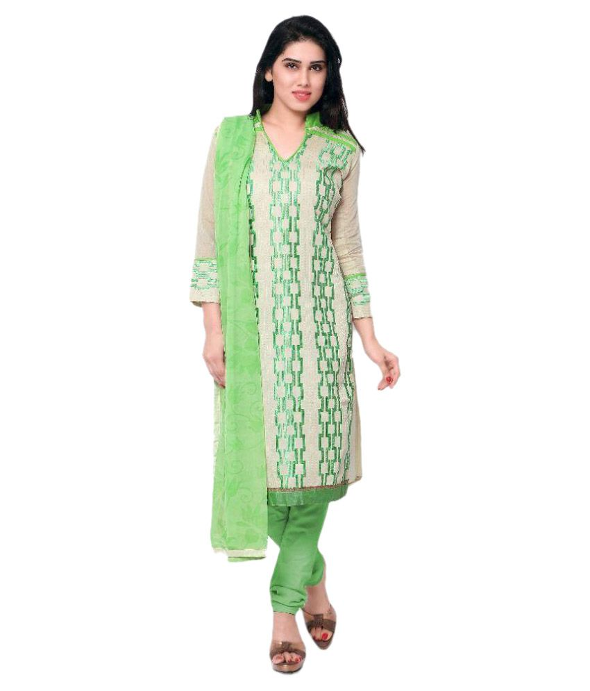 Apple Creation White Chanderi Straight Unstitched Dress Material