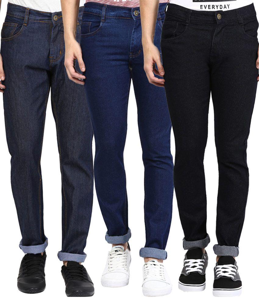 Zea-Al Multi Slim Fit Solid Jeans Pack of 3