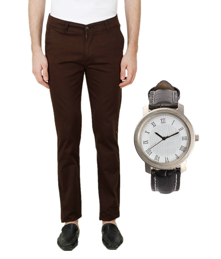 Ansh Fashion Wear Brown Regular Fit Chinos with Watch