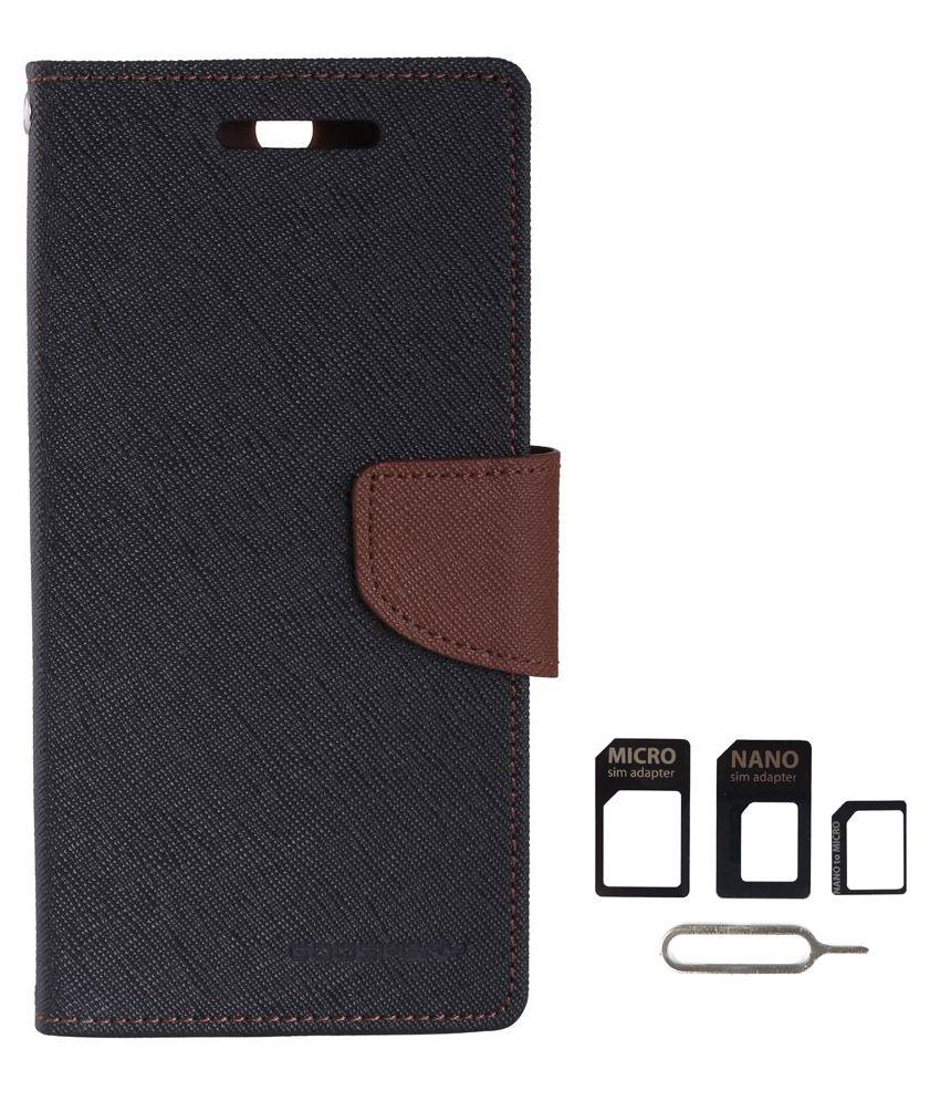 Avzax Flip Case Cover For Samsung Galaxy Note 5 (Black) + Sim Card Adapter