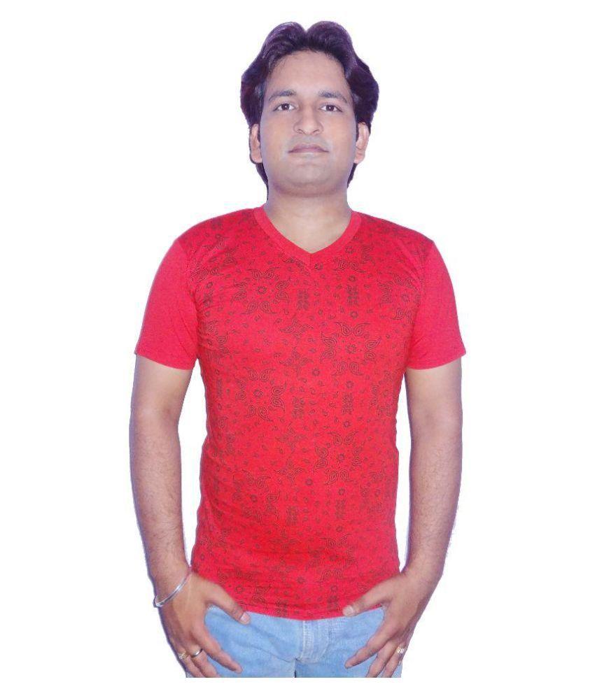 Fronex Red V-Neck T Shirt