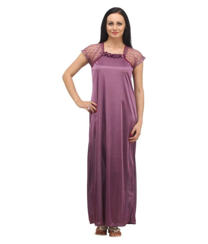 HDS Exports Purple Cotton Nighty & Night Gowns