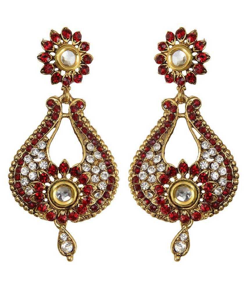 Taj Pearl Brass Oxidised Crystal Studded Golden Coloured Earrings Combo