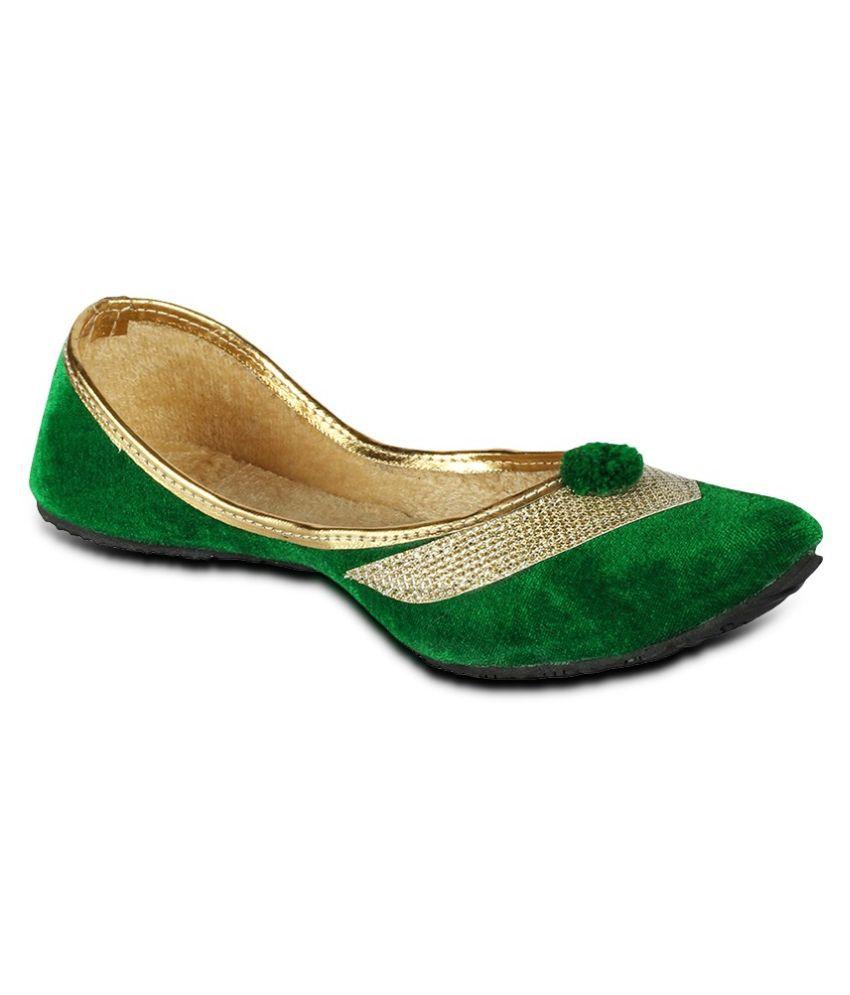 Tryfeet Green Ethnic Footwear