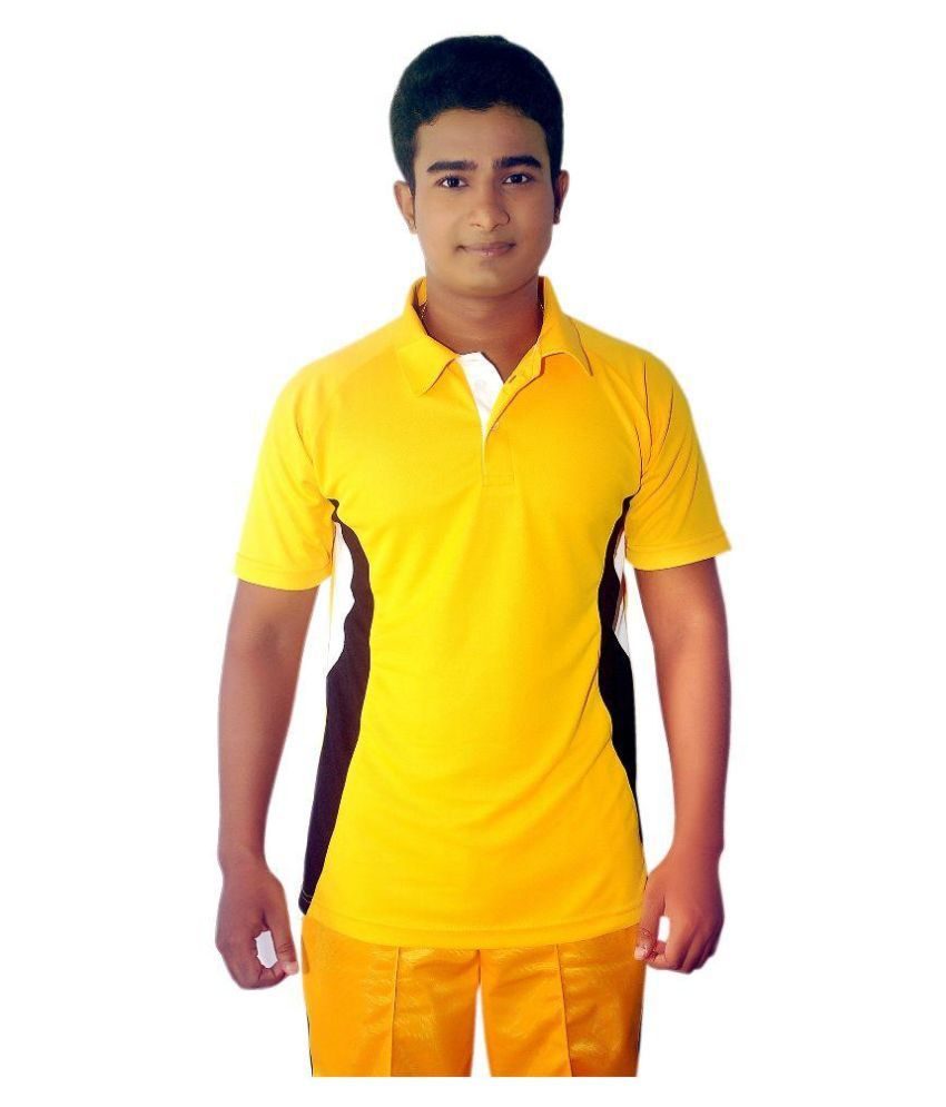 Dyed Colours Yellow Regular Fit Polo T Shirt