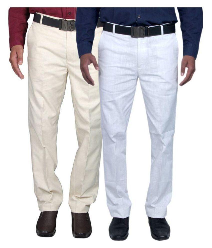 Fabulous Multicolor Regular Fit Flat Trousers - Pack Of 2