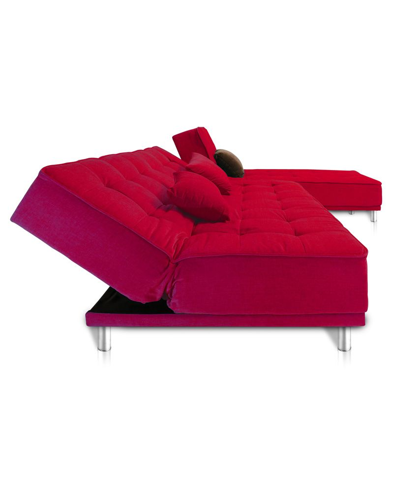 Liberty 5 seater Solid Wood L Shape Red Sofa Bed Buy Liberty 5