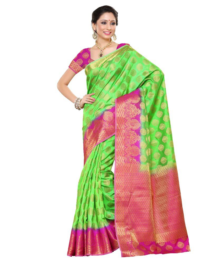2cdc15bb7b Mimosa Green and Pink Tussar Silk Saree - Buy Mimosa Green and Pink Tussar  Silk Saree Online at Low Price - Snapdeal.com