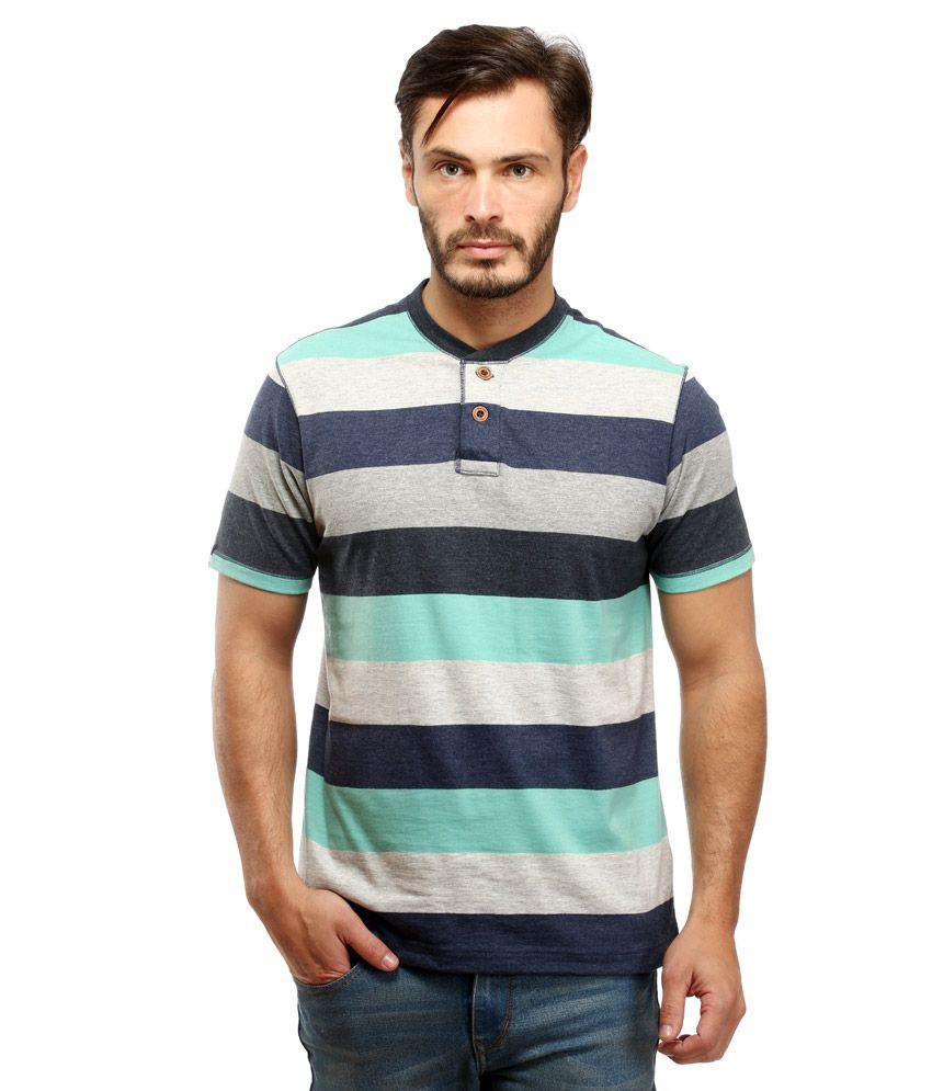 Red Tape Green Henley Neck T Shirt