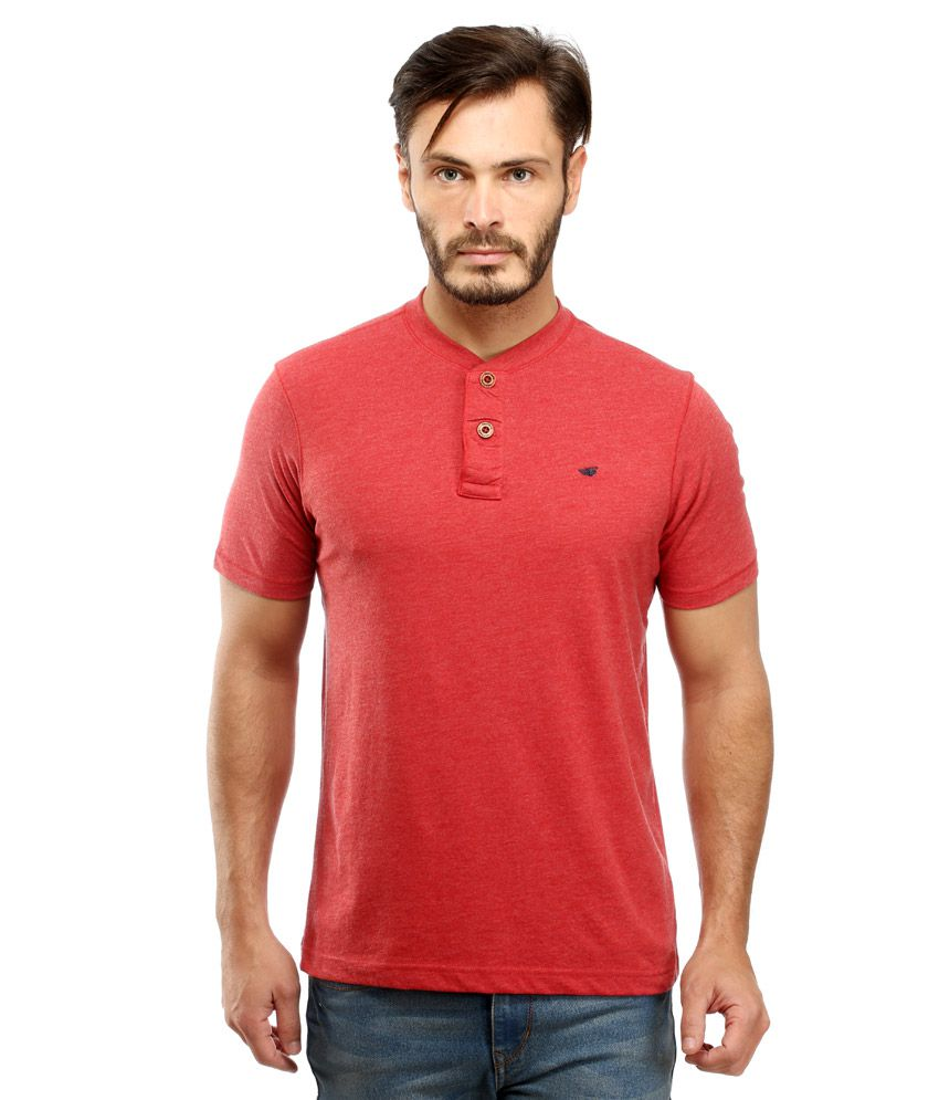 Red Tape Red Henley Neck T Shirt