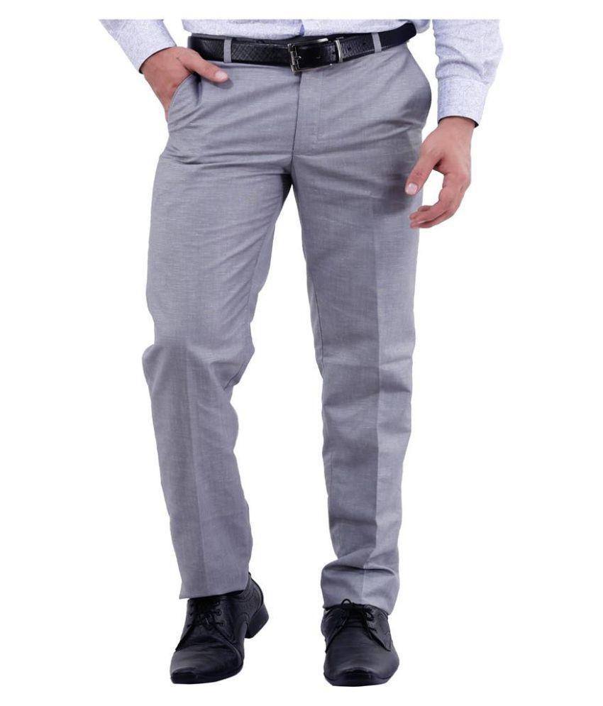 La Mode Grey Regular Fit Flat Trousers