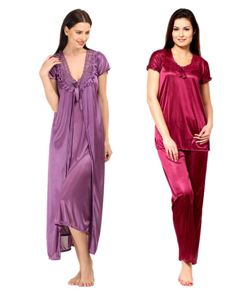 Christy World Multi Color Satin Nightsuit Sets